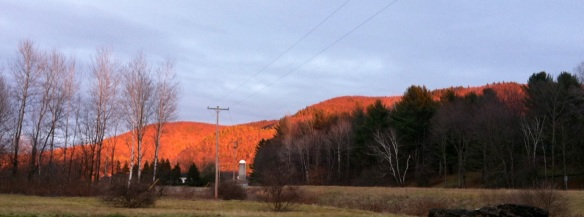 I was awed by the light the setting sun cast on the mountains in the East this evening.
