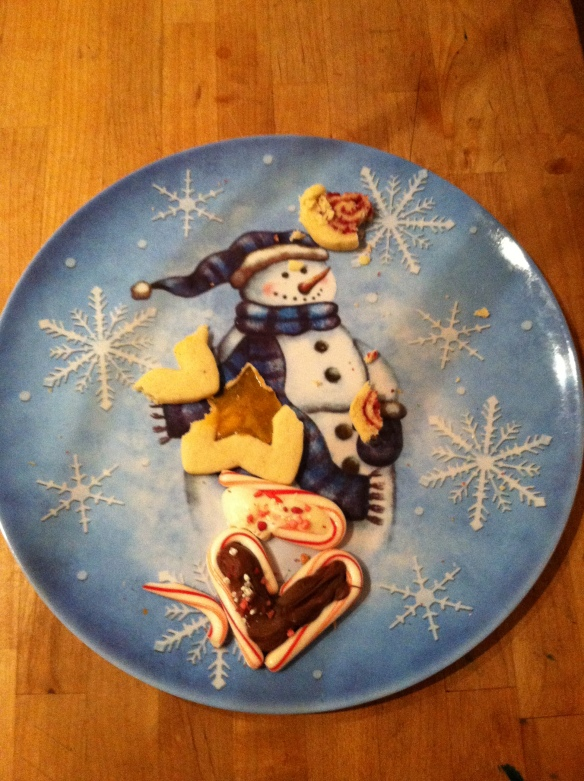 An almost empty Christmas Cookie Platter.