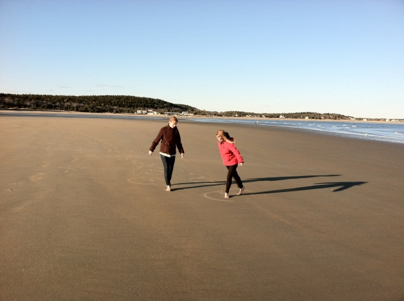 Barefoot on the Beach.  February (that's right) 2012, Maine