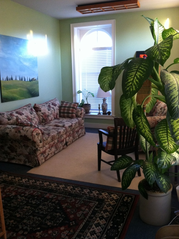 This is the studio's sitting area where we talk before your session and determine what you need from today's therapeutic massage.