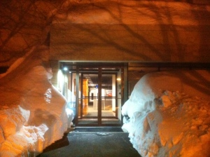 massive snowbanks in front of her office at LLBean